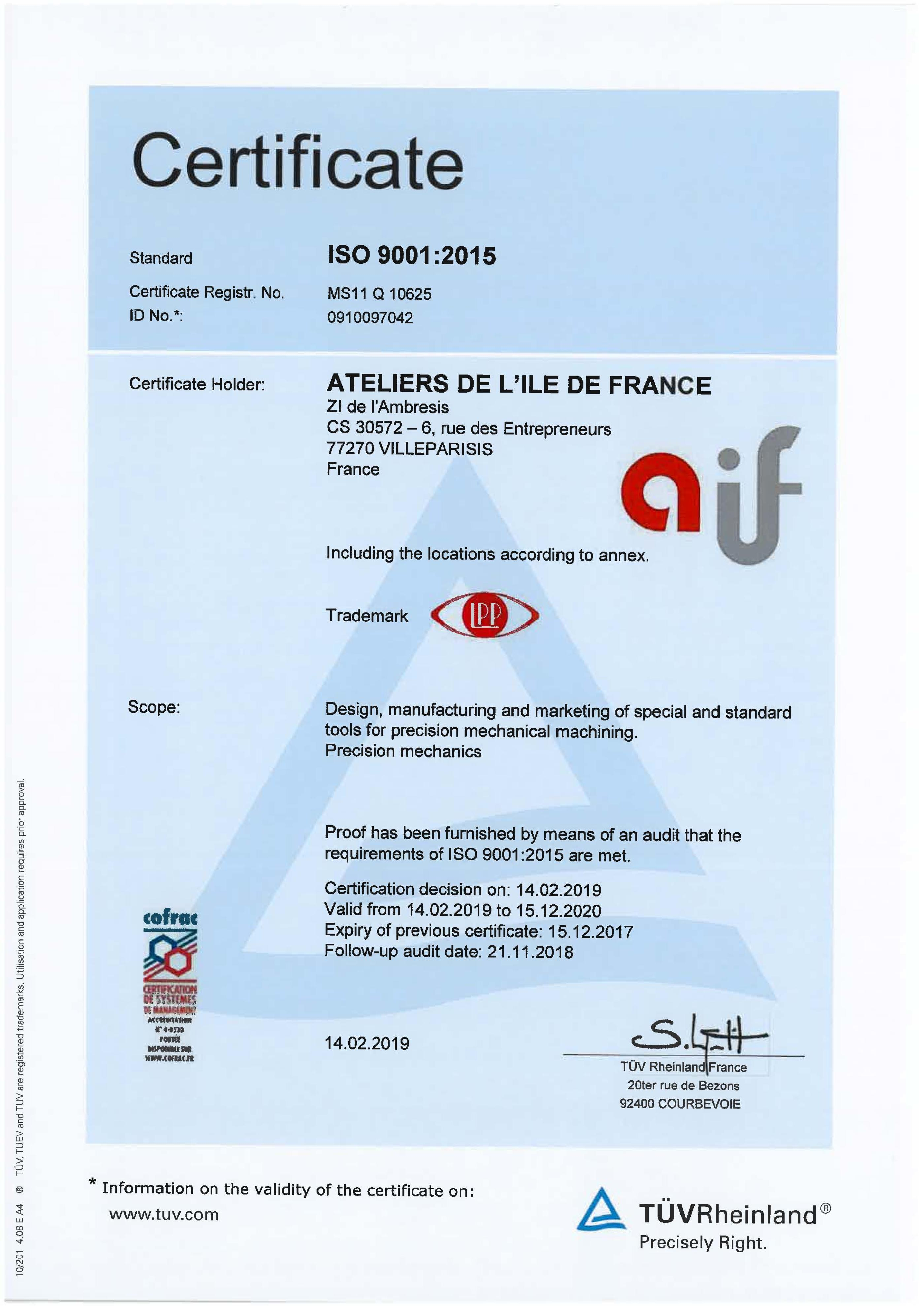 aif certifications certification